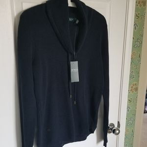 Lauren Ralph Lauren Navy Waffle Cotton Knit Top